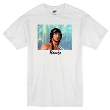 """RAMBO"" FIRST BLOOD SYLVESTER STALLONE 1982 MOVIE WHITE T-SHIRT"