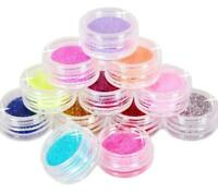 12 Color Metal Glitter Nail Art Tool Kit Acrylic UV Stamp gem Dust S Powder T2N8