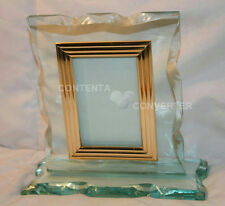 HEAVY BEVELED GLASS PICTURE FRAME WITH STAND & GOLD TRIM FOR 3 X 5 PHOTO