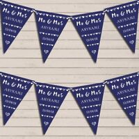 Mr & Mrs Hearts Navy Blue Wedding Day Married Bunting Garland Party Banner
