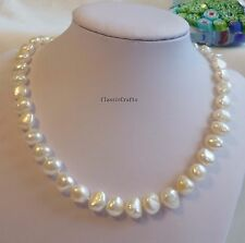 Genuine 9-10mm Baroque freshwater pearls necklace  L45cm