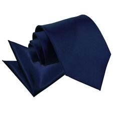 DQT Satin Plain Solid Navy Blue Mens Classic Tie & Hanky Wedding Set