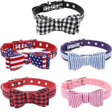 Cute Stripe Bow Dog Cat Collar Leash Set Leash Rope for Small Medium Large Dogs