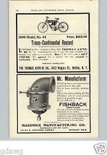 1905 PAPER AD 1906 The Thomas Motorcycle Car Auto Automobile Fishback Carburetor