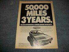 """1974 Mazda RX-4 Hardtop Vintage Ad """"Mazda Introduces A Longer Engine Warranty"""""""