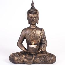 Thai Sitting Buddha TealightHolder Bronze Figurine Ornament Gift/Meditation 27cm