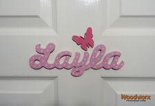 Personalised Names Wooden Name Plaque Door Sign / Bedroom Script 1 Butterfly #22