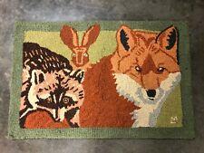 Fox, Racoon,  Rabbit Hooked Rug