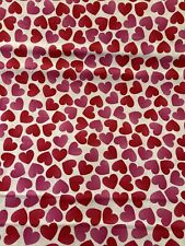 Pink and Red Hearts on WHITE Valentine Fabric By the Half Yard Cotton
