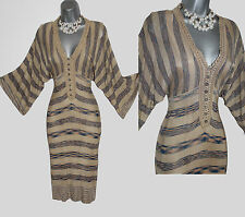 KAREN MILLEN Beige Stripe Batwing Sleeves V-Neck Knitted Crochet Dress 3 UK10/12