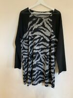 Ladies Eden Rock Italy Long Top Black Animal Print Size Medium <W1125
