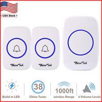 Wireless Doorbell Waterproof Door Chime Kits 2 Remote Buttons+1 Plug-In Receiver