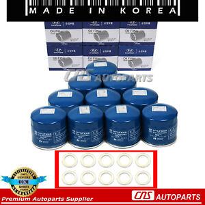 GENUINE Oil Filter w/ Washers 10PCS OEM 26300-35503 For 86-17 Hyundai Kia