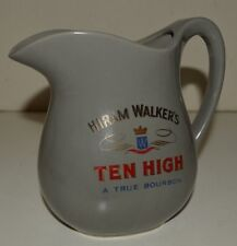 Nice Vintage Gray Hiram Walker High Ten Whiskey Bourbon Ceramic Pitcher MINTY