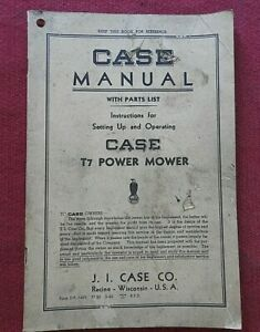 "GENUINE 1942 J I CASE VC RC SC CC DC TRACTOR ""T-7 POWER MOWER"" OPERATORS MANUAL"