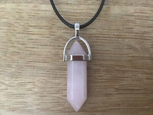 Natural Rose Quartz Crystal Necklace Pendulum Stress Healing Love Gift Uk 💝