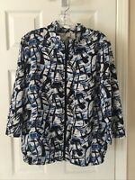 Women's Alfred Dunner Size Large Blue Black white Zip Up Lightweight Jacket Top