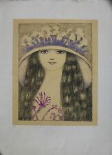 FRAI FELICITA 69x50 litografia + cornice Volto di donna fiori quadro grecoarte