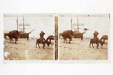 Quai de Smyrne Turquie Plaque de verre D Stereo Positive Vintage