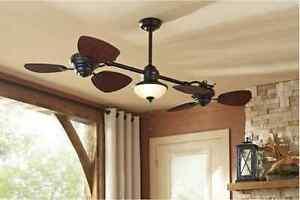 "Damp Outdoor/Indoor 74"" Dual Patio Ceiling Fan w/ Light Fixture Twin Wicker Leaf"
