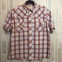 Vintage Wrangler Multi Color Western Plaid Pearl Snap Button Short Sleeve Shirt