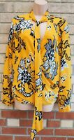 G21 YELLOW BLACK FLORAL TIE NECK GRECIAN TWISTED LONG SLEEVE BLOUSE TOP SHIRT 20
