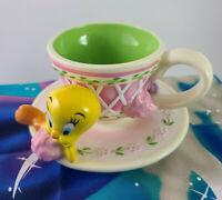 Vintage Warner Bros Studio Store Enchanted Garden Tweety Bird Teacup Tea Cup NEW
