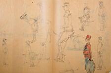 Dessin 1913 env croquis militaires à pied et à cheval Adrien de Blois uniformes