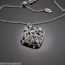 HEARTS ON FIRE NECKLACE  0.62 CT DIAMOND BROCADE SQUARE PENDANT 18K WHITE GOLD