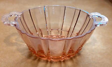 "Antique Depression Pink Glass Art Deco Handles Bowl Sections Faceted 5 1/2"" Pale"