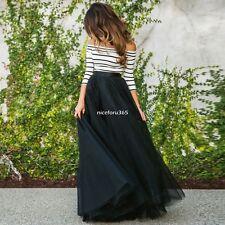 Women 2pcs Long Sleeve Tops Blouse Tutu Mesh Long Skirt off Shoulder Party Dress XL