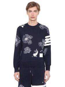 Thom Browne Flowers Koi Fish Embroided Sweatshirt