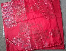 "One pair of Lovely Thai Faux-Silk Cushion Covers, 17"" x 17"" – Crimson / Red."