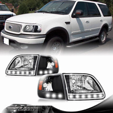 97 98 99 00 01 02 03 Ford F-150 Black Housing LED Headlight + Corner Signal Lamp