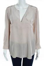 Joie Beige Silk Long Sleeve V Neck Pocket Front Blouse Size M