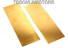 """Yellow Brass Sheet 18ga 6"""" x 2"""" 1.02mm Thick Package Of 2"""