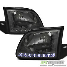 [Smoked Lens] 1997-2003 Ford F150 97-02 Expedition LED DRL Headlights Left+Right