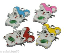 Enamel Mouse Charms Qty 8 - Mixed Colours 26x20x1.5mm  Pendants Silver Alloy