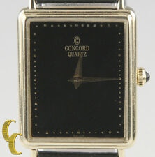 Concord 14k Yellow Gold Quartz Watch w/ Black Leather Band black Onyx Crown