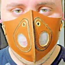 100% Leather Steampunk Respirator Mask Brown w/ Wire Meshssss Halloween CosPlay