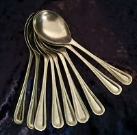 "Vintage Set of 10 Dessert Spoons, Stain-Less Nickel, ""Florence"" Pattern"