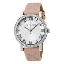 Michael Kors Norie White Sunray Dial Ladies Quilted Leather Watch MK2617