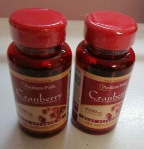 New Puritan's Pride Cranberry Fruit Concentrate 4200 mg Plus Vitamin D3 180 X 2