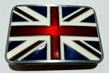 BELT BUCKLE - British Flag - Heavy Duty - Silver Border - Excellent Quality!