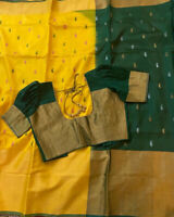 Yellow Uppada Silk Saree With Green Blouse & Fall Stitched Size 34-40-USA Seller