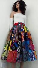 Patchwork African Printed Fabric Mid-Calf Skirt 100% Wax Cotton Handmade UK