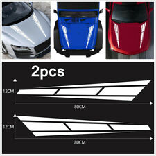 2pcs Sport Racing Stripe White Hood Stickers Graphics Universal Car Truck Decal