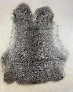 Rabbit Skin Pelt - Genuine Leather Fur - Light Gray Color