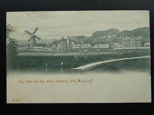 Norfolk CLEY NEXT THE SEA & WINDMILL from Blakeney Hill c1903 Postcard