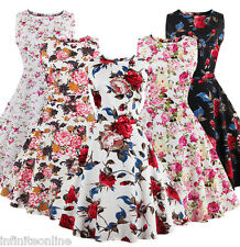 Vintage 50's 60's Rockabilly Dress Women Sleeveless Floral Formal Party Dress